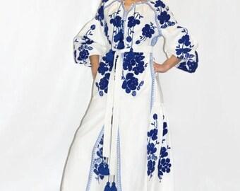 Ukrainian Embroidered Dress Boho Dresses Vyshyvanka Vishivanka Bohemian Clothing Custom Embroidery Mexican Dress Linen Boho Modern Style