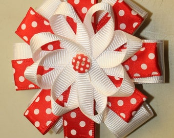 3 inch Hair Bow, Red and White, Infant, Girl, Toddler Hair Bow
