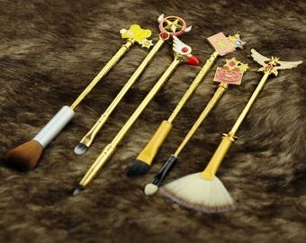 6pcs new design Sailor moon Makeup brushes cosmetic brush moon/feathered wings/crystal/magic wand Women's gift