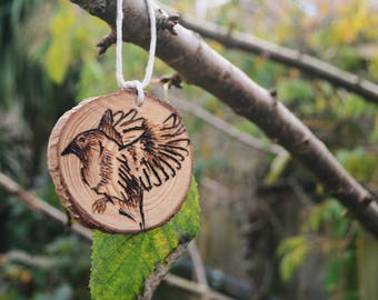 Hand Carved Wooden Bird Ornament
