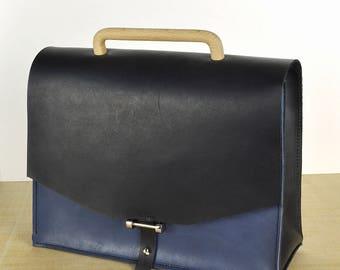 Leather bag // Leather Handbag // Leather crossbody bag. Handbag. Black-Blue . Shoulder bag.