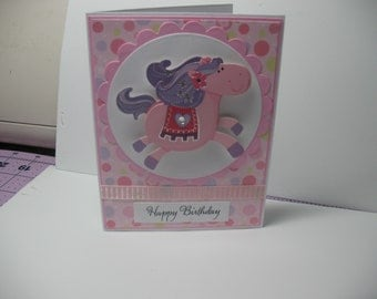 Pink Horse Birthday Card