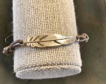 Gold Feather - Black Leather Bracelet