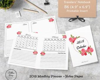 Planner 2018 Monthly, Monthly Planner Calendar 2018, B6 Printable Inserts, B6 Inserts, B6 Size Insert, Dated Insert, Sunday Start 2018
