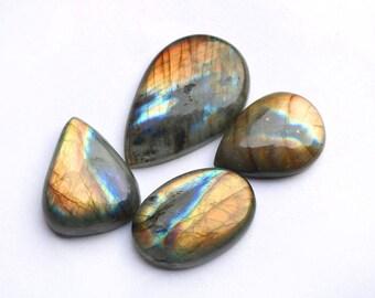 4pcs 193cts. 42x27mm 100% natural multi fire beautiful design labradorite Cabochon smooth hand polish jewelry making loos gemstone  SKU0068
