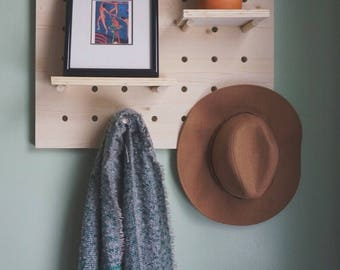 Pine Pegboard Shelf / Peg Board Shelf / Pegboard Display