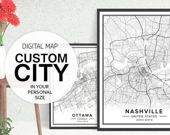 Custom City Map, Custom Map Art, Custom Map Print, City Map Print, City Map Art, Map Download, Maps Of Cities, City Posters, Pdf Prints