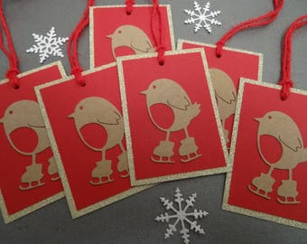 6 Christmas Gift Tags - Robin Christmas Gift Tags - Xmas Gift Tags - Gift Labels - Red Robin Gift Tags