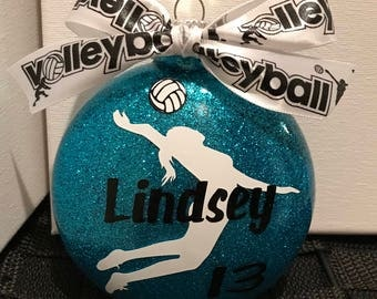 """Personalized Girl Volleyball Ornament--Large 4"""" M&M Style"""
