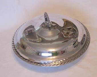 Capable Silverplate Large Covered Vegetable Server with Gadroon Border