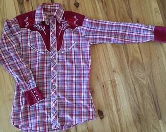 Vintage Ely Plains, Smile Pocket, Pearl Snap, Embroidered Western Shirt