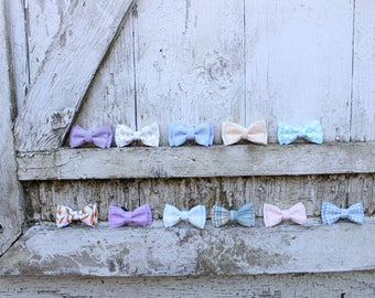 Easter bow tie - clip on bow tie - easter outfit - infant bow tie - toddler bow tie - plaid bow tie - carrot bow tie - pastel bow tie