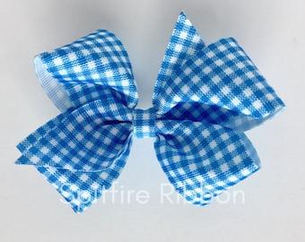 Blue Gingham Bow   4 Inch   Grosgrain