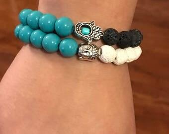 White & Turquoise Lava Charm Bracelet