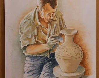 PROFESSIONS of THE PAST, Potter, (Aquarelle) 50x70cm, 2017