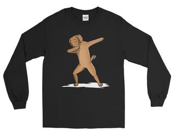Cute Dabbing Vizsla Dog Long Sleeve Shirt Funny Dab Dance Gift