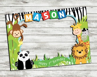 PRINTABLE Jungle Animals photo booth frame, Safari photo booth frame, Jungle Photo Booth Frame, Wild Animals Photobooth, Let's Get Wild