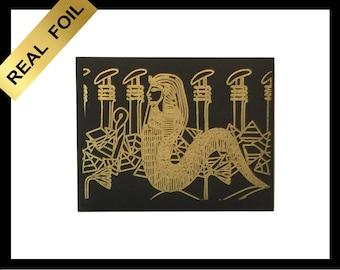 Real  metallic gold  foil  wall  art print EGYPTIAN REVIVAL surreal  snake