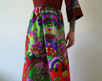 TORI RICHARD HONOLULU, Chinese Vintage 70's dress