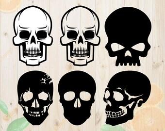 Skulls Svg, Skulls Silhouettes Svg, Dxf, Eps & Png Cutfiles, Skulls Silhouette files for Cricut, Silhouette cameo, Skulls Bundle