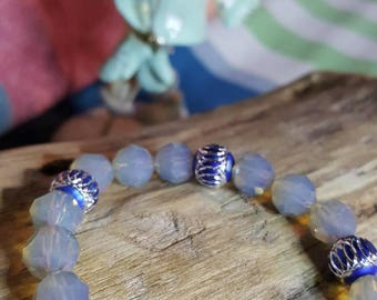 transparent Bead Bracelet, and Blue Pearl