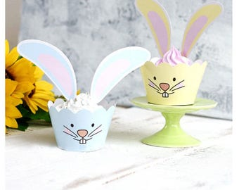 Easter Bunny Cupcake Wrappers and Ears
