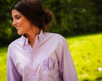 set of 2 monogrammed button up, monogrammed button down, getting ready shirts, oxford button, bridesmaid gift, bride shirt, bridesmaid shirt