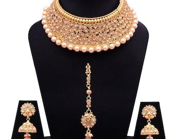 Bridal Wedding Earring Drop Jewellery Set with Maangtikka