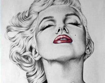 Marilyn Monroe Hand Made Drawing