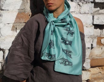 Mint Scarf /Satin  Scarf / Gift fot Her/ Hand Printed / Unique Accesorie / Urban Wear / Loop Scarf /