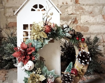 Christmas Wreath. New Year's wreath at the door. Wreath on the Door. Will create an atmosphere of celebration.