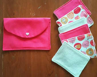 Washable wipes + pouch