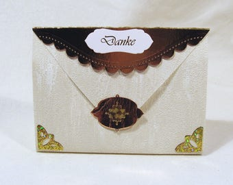Small gift bag + magnetic clasp + Label Ornament Gold/Cream handmade