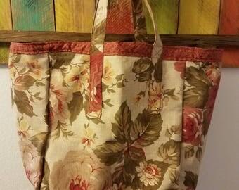 Reversible Tote Bag; Grocery Bag; Everyday Tote; Bag; Flowered Tote; Beige Tote