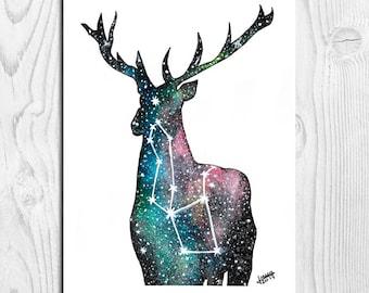Illustration stag, deer galaxy, Galaxy deer, deer, deer Illustration, deer Print, Watercolour deer, Nursery Decor, A4, A5, A6