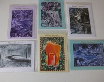 Pack of 6 Blank Encaustic Wax Art Christmas Cards 5 x 7