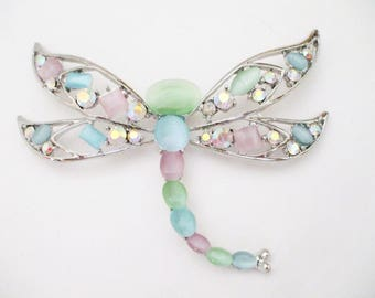 Vintage Moonglow Lucite AB Rhinestone Dragonfly Pendant