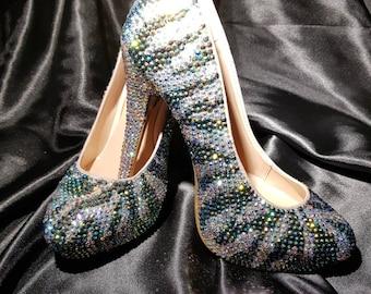 Handmade fully crystallized zebra pattern heels