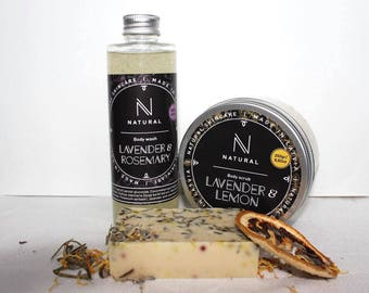 N A T U R A L | Bath gift set with lavender & rosemary scents | Body scrub | Body wash | Organic soap | Christmas gift set | Beauty gift set