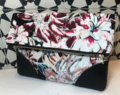 Fold over clutch in silk and leather, watercolor floral silk with salvaged leather accents, lined in pink silk- Reserved for Stephanie!