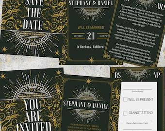 Art Deco Wedding Invitations - Printable PDF File - Gold and Navy Invitation Set - Save the Dates, Details + RSVP Cards - Luxury Wedding