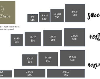 Size and Price Chart