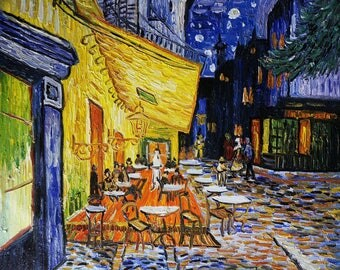 Café Terrace at Night Oil Painting Reproduction Canvas by Vincent van Gogh