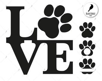 Love cat svg, love cat clipart, paw cat svg, paw dog svg, cat monogram svg, cricut silhouette – eps, dxf, png, pdf, svg – digital files