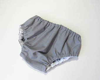 Steel gray diaper cover-Baby boy diaper cover-Solid color bloomers-Baby cotton nappy cover-Baby boy summer clothing