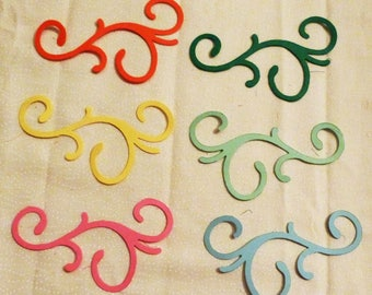 """Scrapbooking Scrolls Die Cuts, Set of 6 Scrolls, green, Light Blue, Orange, Yellow and Mint and Pink, Sizes 3.5"""" x 2"""". Made in the USA, #10"""