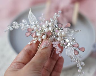 Bridal hair comb Wedding flower hair comb Bridal silver headpiece Silver hair comb Pink headpiece Pearl hair comb Pearl headpiece Pink comb