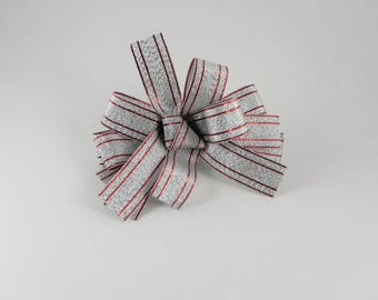 Red Lined Silver Sparkle Bow