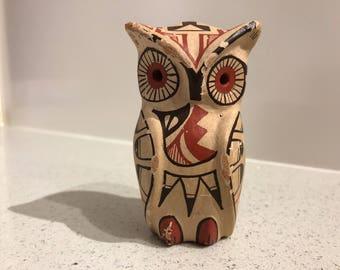 Vintage Jemez Pueblo Pottery Owl Figurine by Gachupin New Mexico