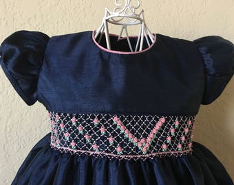Size 2 Hand Smocked Girls Dress - Navy with Pink Roses